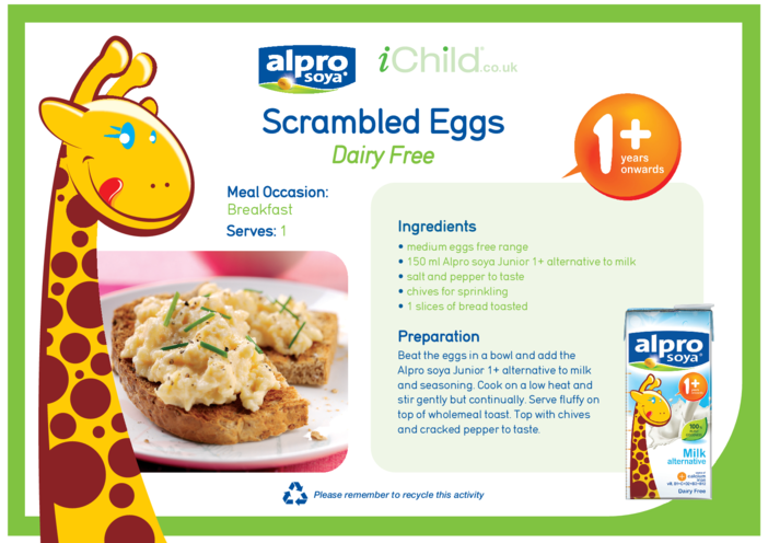 Thumbnail image for the Scrambled Eggs Dairy Free Recipe activity.