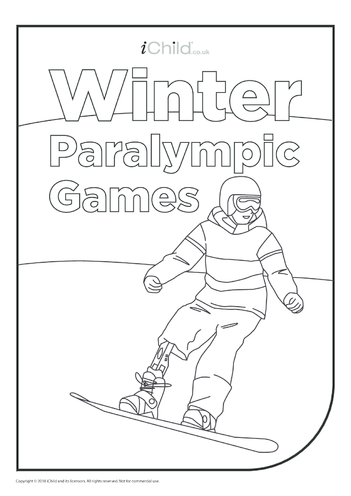 Thumbnail image for the Winter Paralympic Games - Snowboarder Colouring in Picture activity.