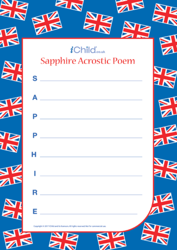 Thumbnail image for the Sapphire Jubilee Acrostic Poem activity.