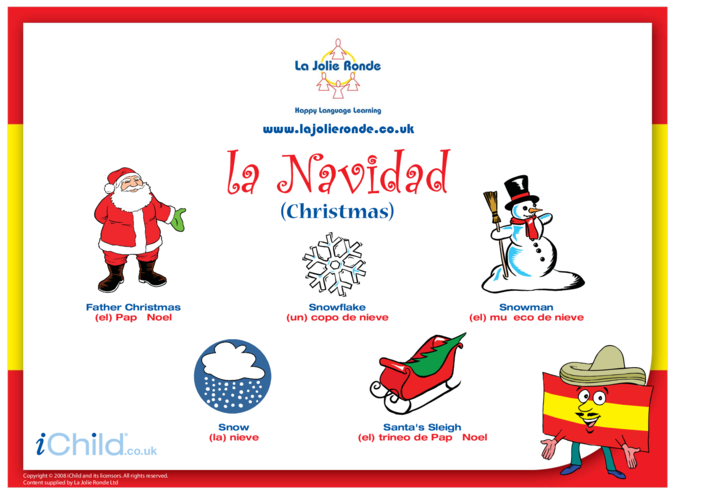 Thumbnail image for the Christmas Words in Spanish activity.
