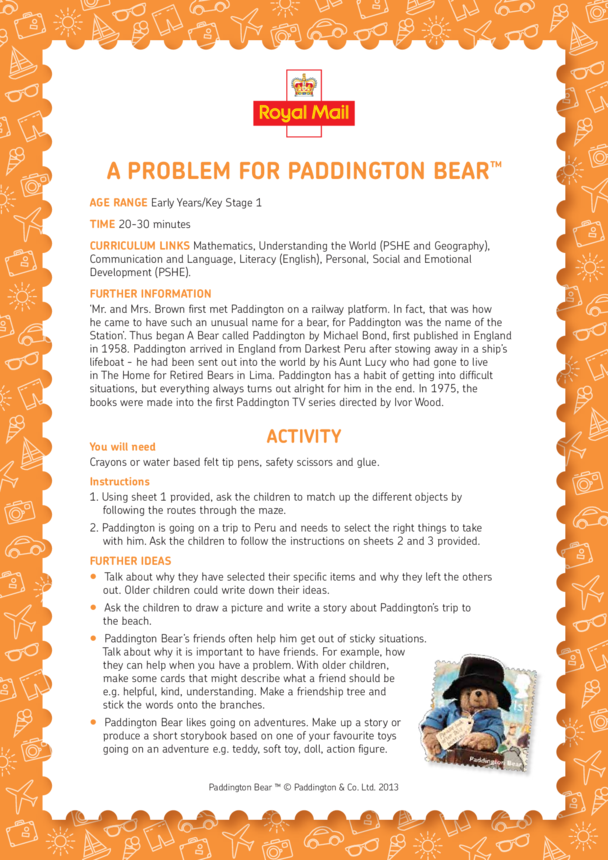 Paddington Bear: A Problem For Paddington Bear Lesson Plan (EYFS/KS1)