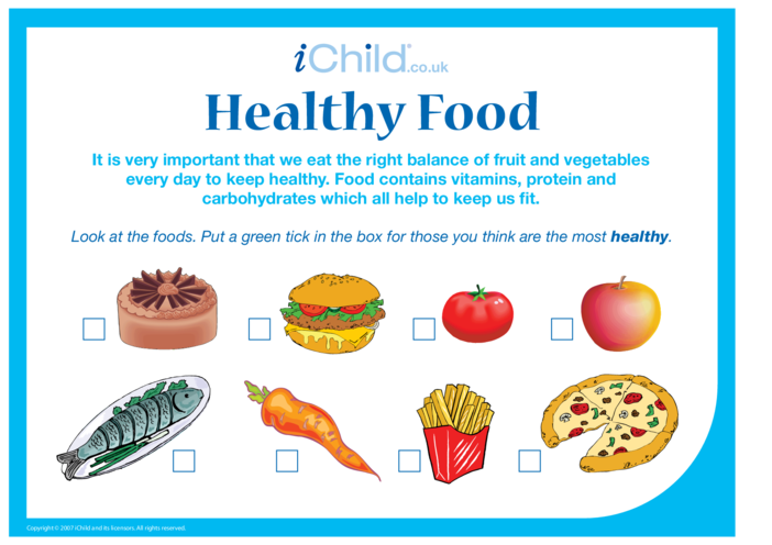 Thumbnail image for the Healthy Food activity.