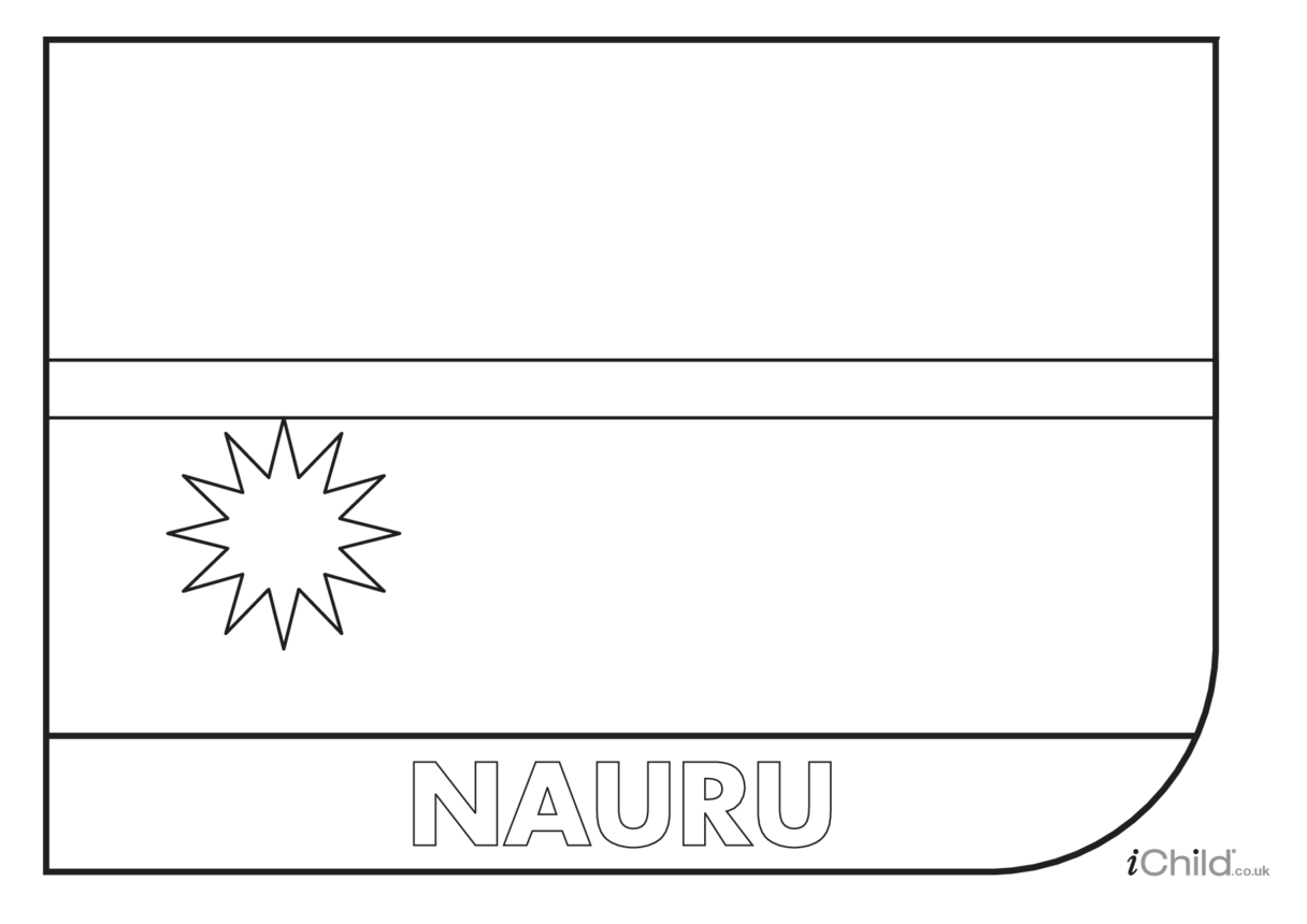 Nauru Flag Colouring in Picture (flag of Nauru)