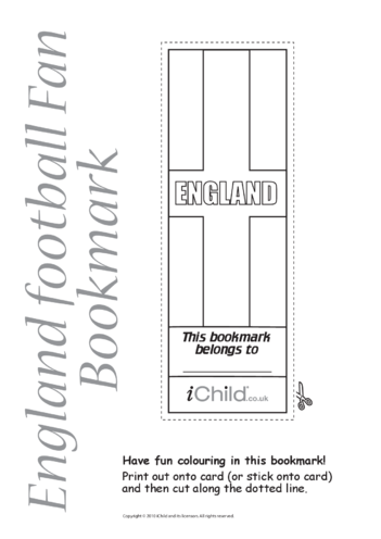 Thumbnail image for the Cricket World Cup England Flag Bookmark activity.