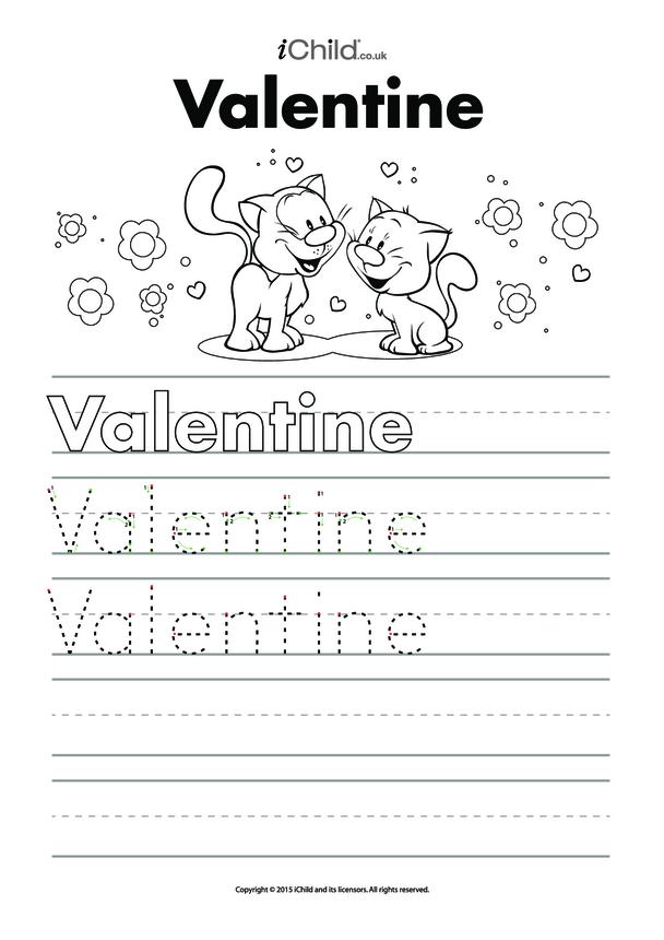Valentine's Day Handwriting Practice Sheet