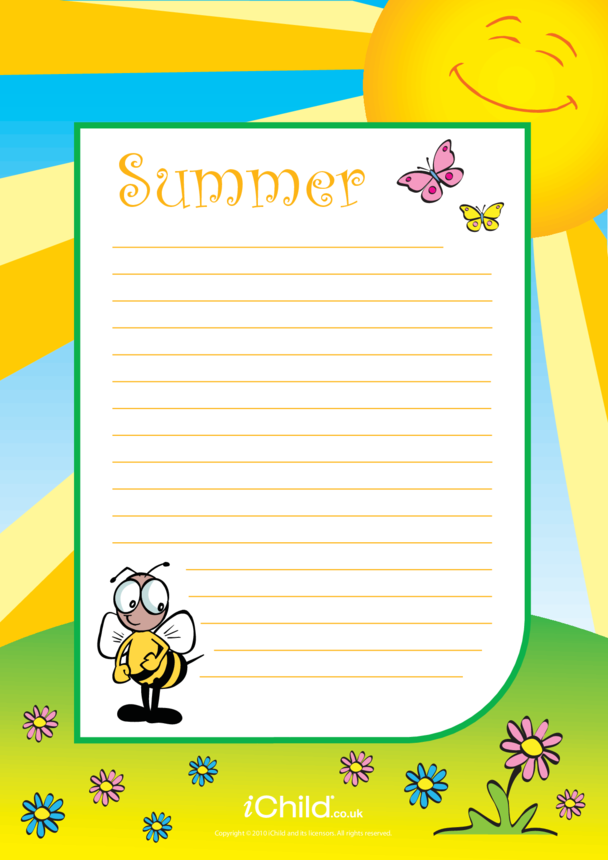 Summer Lined Writing Paper Template