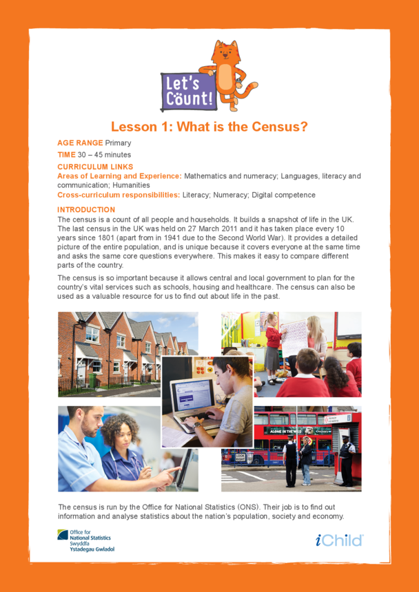 Welsh/English: Let's Count! Lesson 1: What is the Census?