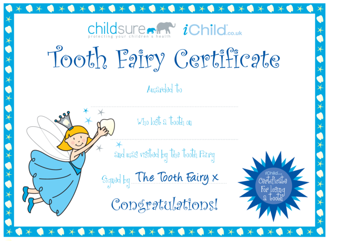 Thumbnail image for the Tooth Fairy Certificate (Blue fairy) activity.
