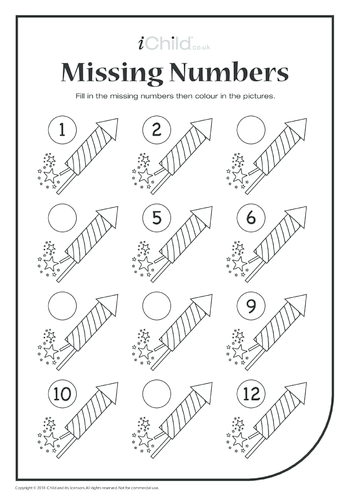 Thumbnail image for the Missing Numbers - Fireworks activity.