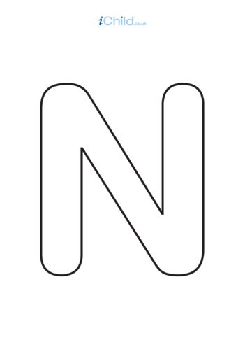 Thumbnail image for the N: Poster of the Letter 'N', black & white activity.