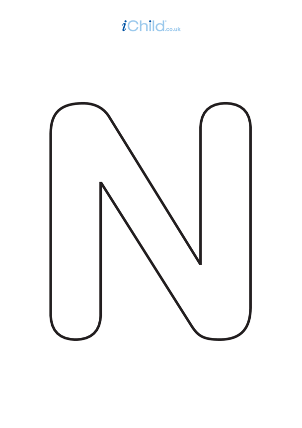 N: Poster of the Letter 'N', black & white