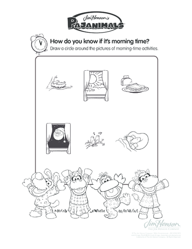 Thumbnail image for the Pajaminals Morning Time Activities activity.