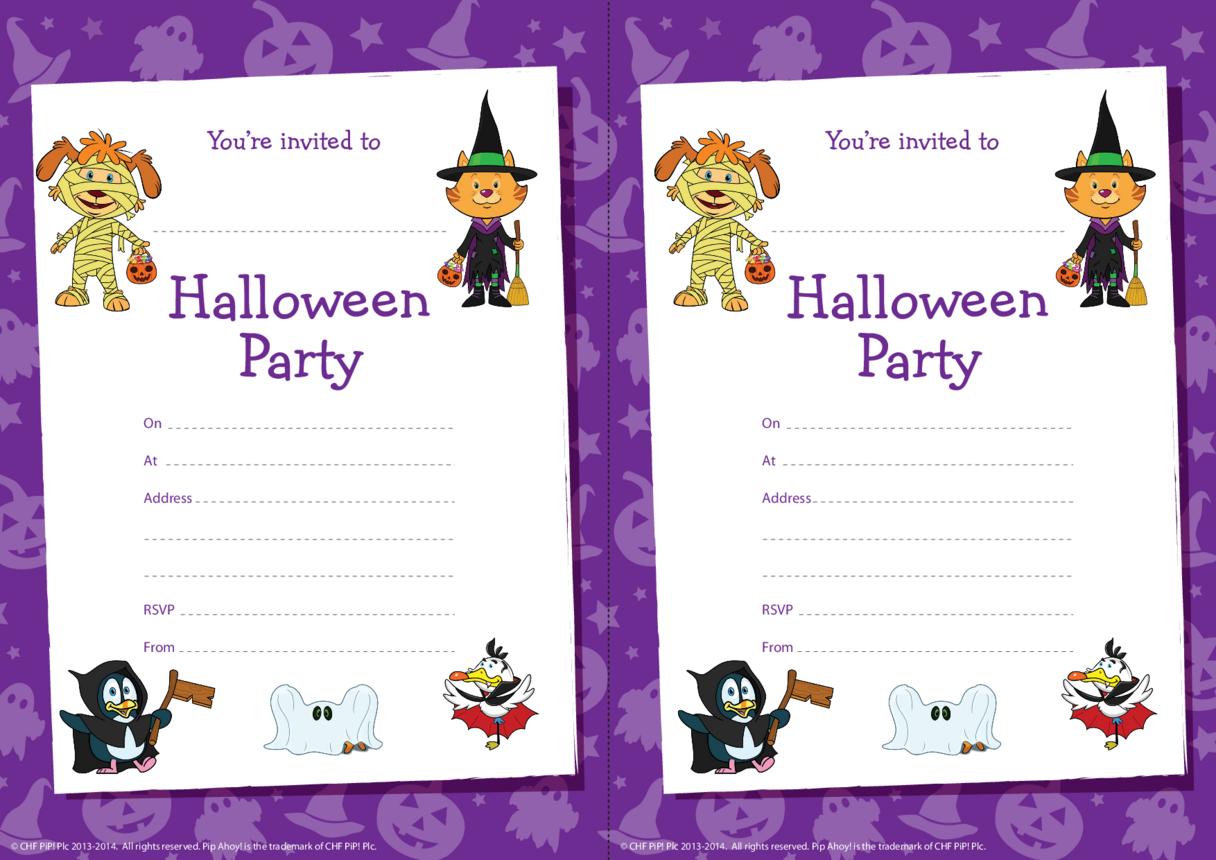 Pip Ahoy! Halloween party invitations