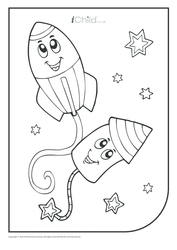 Firework Rocket Pair Colouring in Picture
