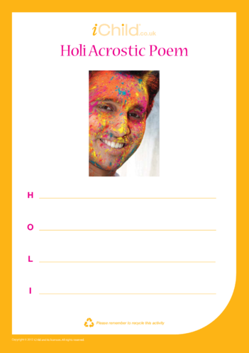 Thumbnail image for the Holi Acrostic Poem activity.