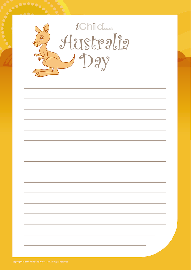 Australia Day Lined Writing Paper Template