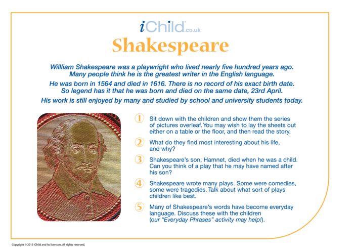 Thumbnail image for the Shakespeare Historical Story activity.