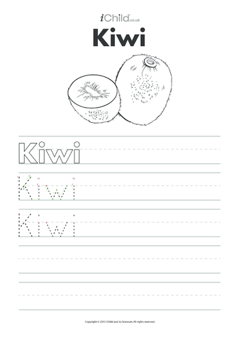 Thumbnail image for the Kiwi Handwriting Practice Sheet activity.