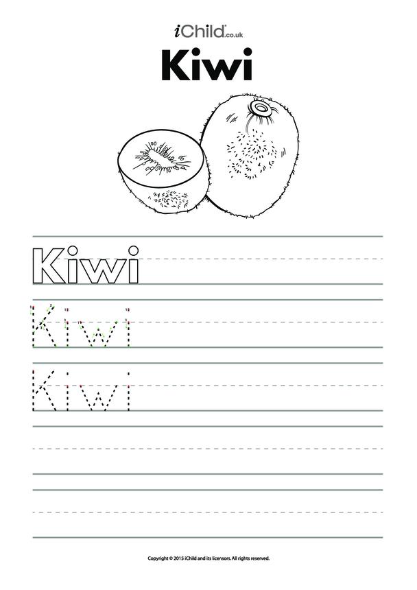 Kiwi Handwriting Practice Sheet