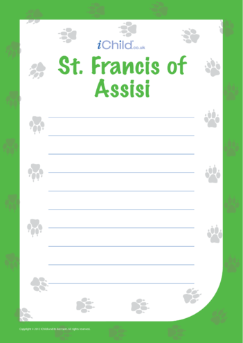 Thumbnail image for the St. Francis of Assisi Acrostic Poem activity.