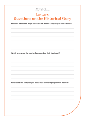 Thumbnail image for the Lascars Worksheet: Questions on the Lascars Historical Story activity.