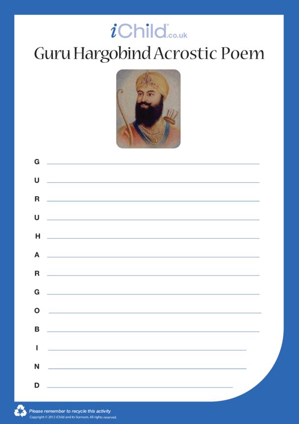 Guru Hargobind Acrostic Poem