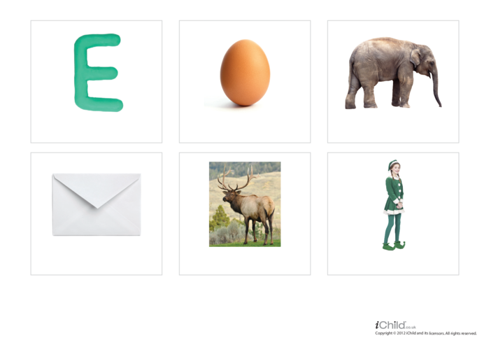 Thumbnail image for the Letter of the Alphabet: E - Photo Flashcard activity.