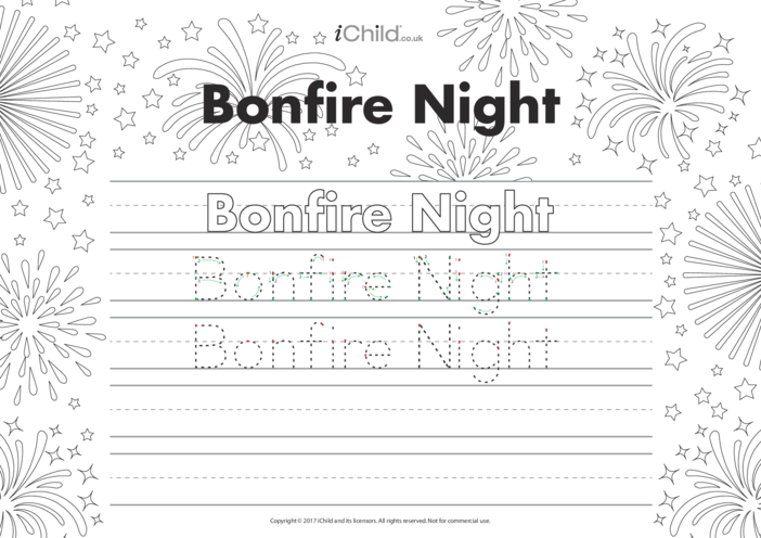 Thumbnail image for the Bonfire Night Handwriting Practice Sheet activity.