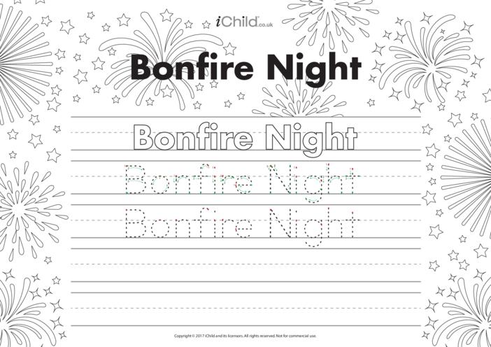 Thumbnail image for the Bonfire Night Handwriting Practice Sheet activity.