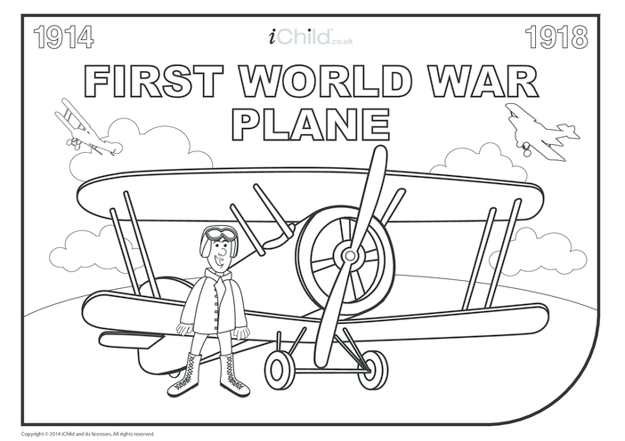 Thumbnail image for the First World War Colouring in Pilot and Plane activity.