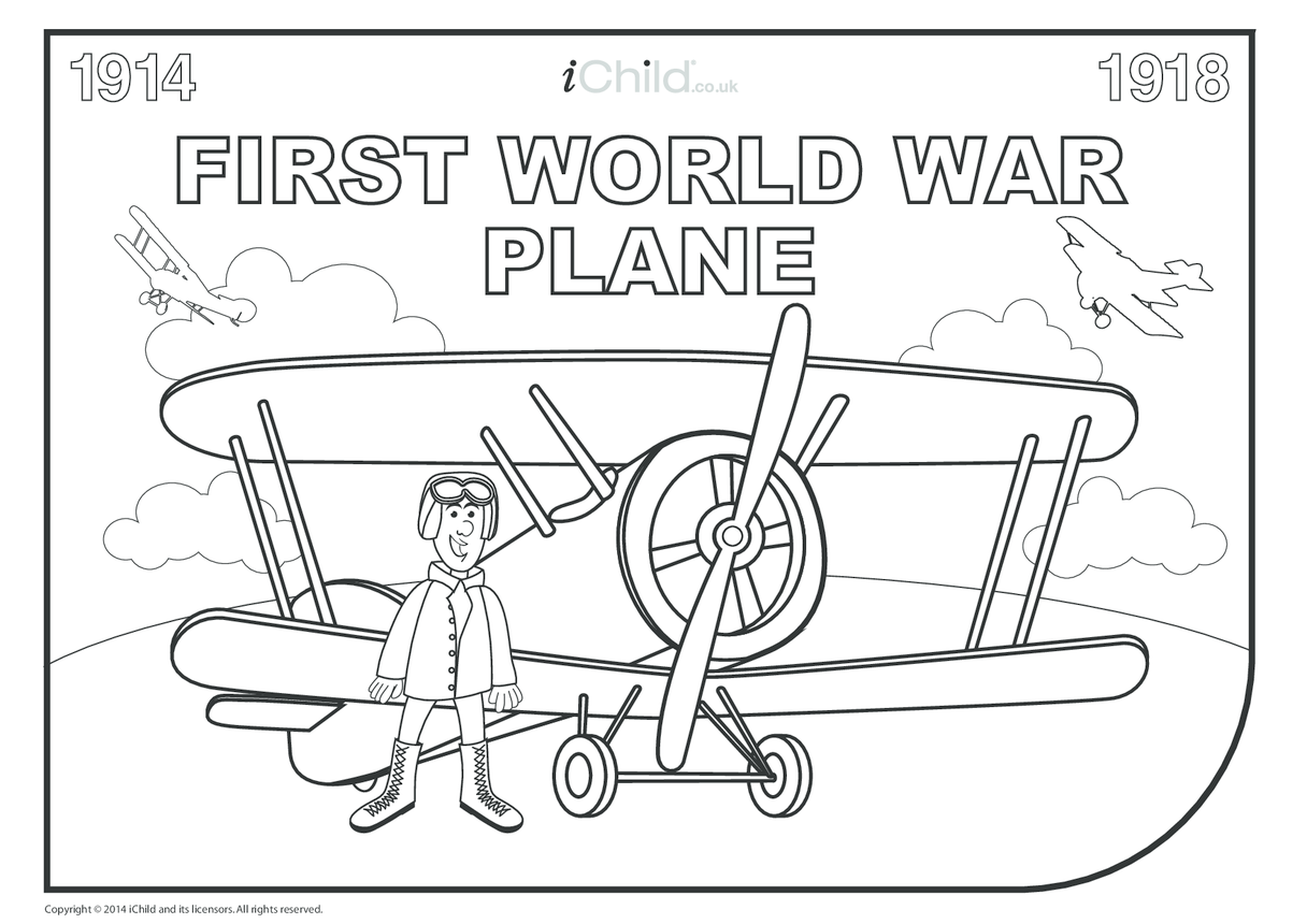 First World War Colouring in Pilot and Plane