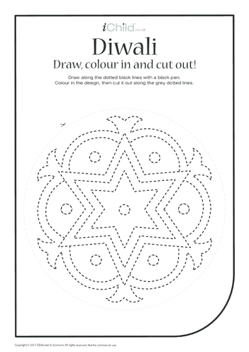 Thumbnail image for the Diwali: Draw, Colour & Cut Out (2nd pattern) activity.