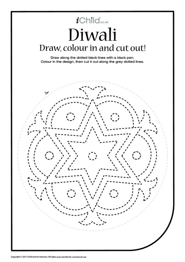 Diwali: Draw, Colour & Cut Out (2nd pattern)