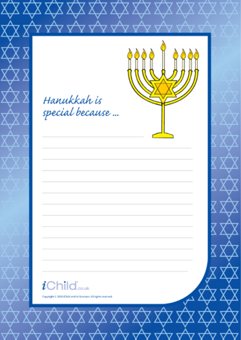 Thumbnail image for the Hanukkah Lined Writing Paper Template activity.