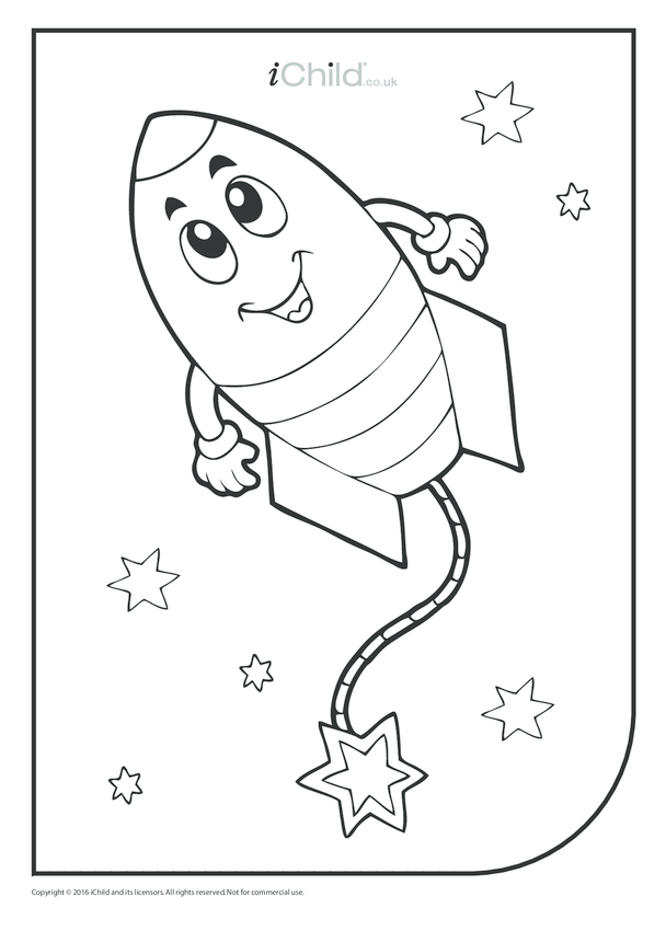 Happy Firework Colouring in Picture