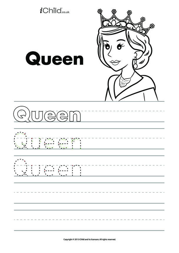 Queen Handwriting Practice Sheet