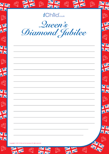 Thumbnail image for the Diamond Jubilee Lined Writing Paper Template activity.