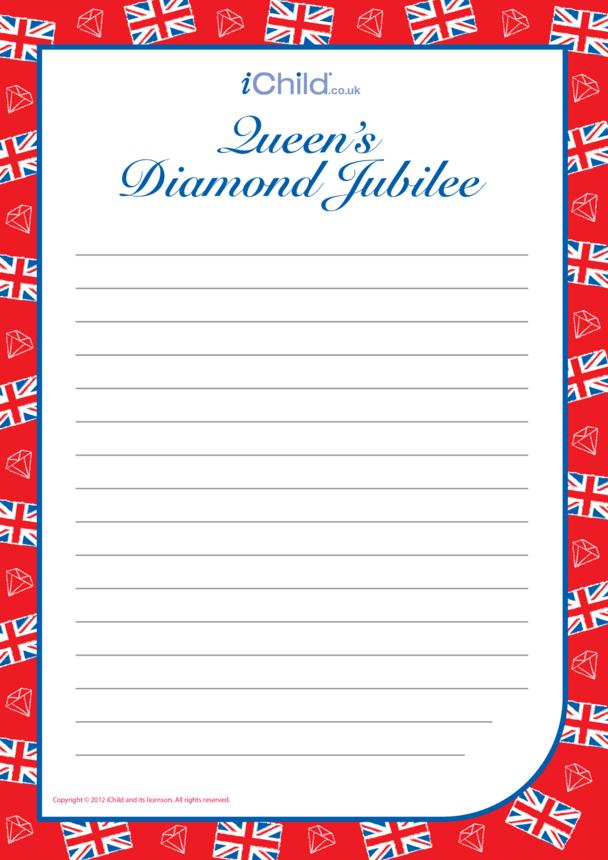 Diamond Jubilee Lined Writing Paper Template