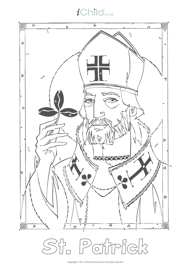 St. Patrick Colouring in Picture