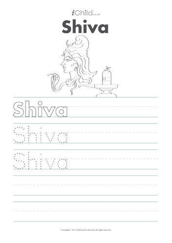 Thumbnail image for the Shiva Handwriting Practice Sheet activity.