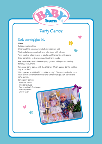 Thumbnail image for the 2021 BABY born Activity 3 Party Games activity.