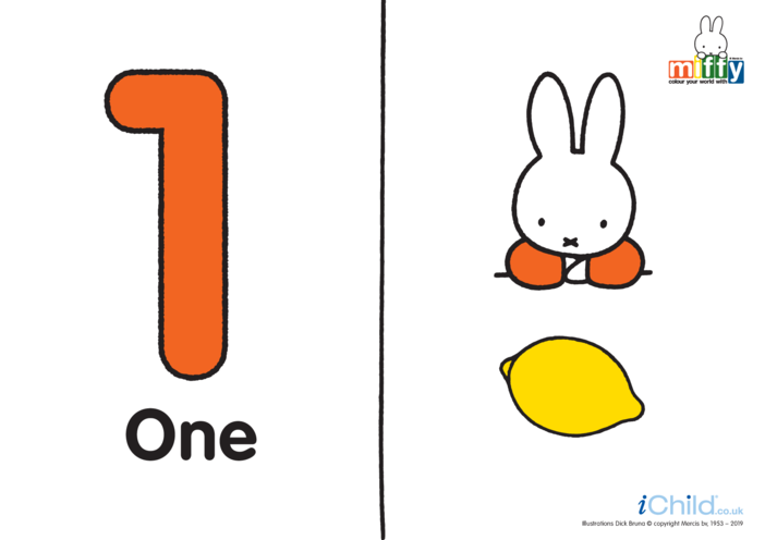 Thumbnail image for the Count up to 10 with Miffy (less ink) activity.