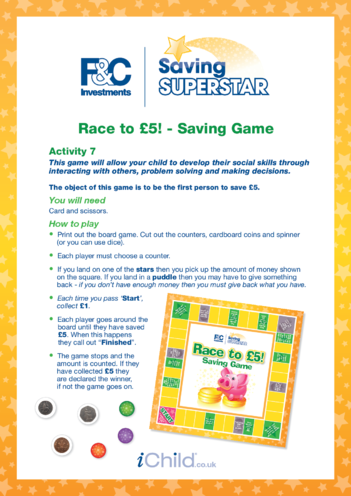 Thumbnail image for the Age 5-7 years (7) Race to £5 Saving Game activity.