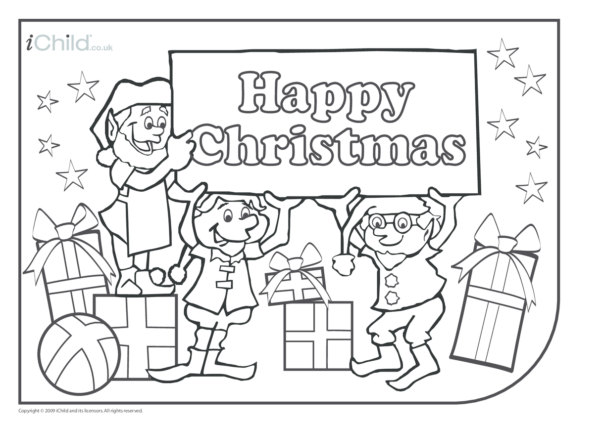 Elves Colouring in picture