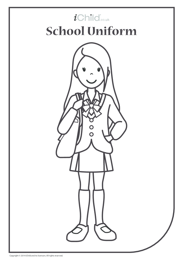 Girl in School Uniform Colouring in Picture