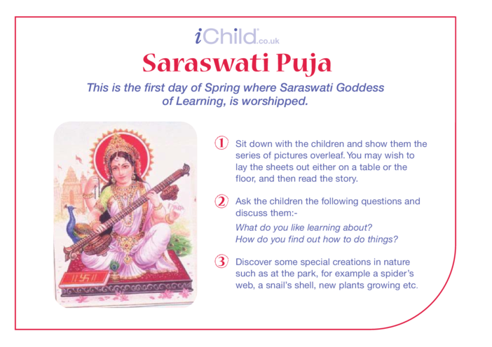 Thumbnail image for the Saraswati Puja Religious Festival Story activity.
