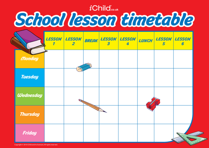 Thumbnail image for the Back to School Lesson Timetable activity.
