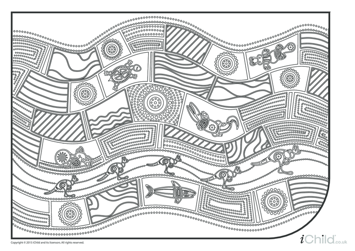 Thumbnail image for the Australian Aboriginal Art Colouring in Picture (Sheet 3) activity.