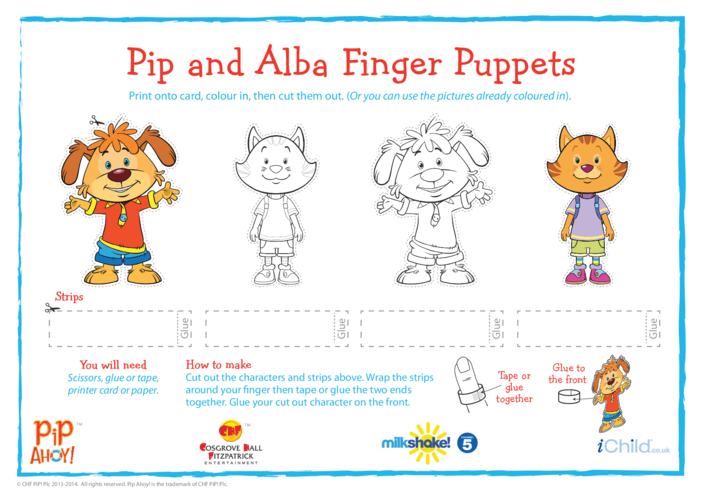 Thumbnail image for the Pip & Alba Finger Puppets (Pip Ahoy!) activity.