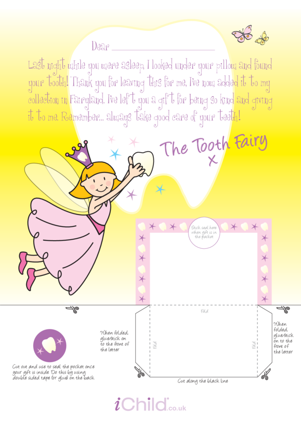 Letter From Tooth Fairy Template (Pink Fairy)